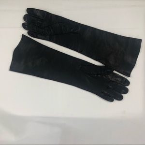 Vintage Black Leather Evening Gloves